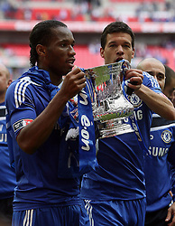 15.05.2010, Wembley Stadium, London, ENG, FA Cup Finale, Chelsea FC vs Portsmouth FC, im Bild Didier Drogba of Chelsea    and Michael Ballack of Chelsea  in Chelsea celebration for winning FA Cup. EXPA Pictures © 2010, PhotoCredit: EXPA/ IPS/ Marcello Pozzetti / SPORTIDA PHOTO AGENCY