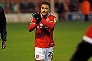 Wes McDonald claps the Walsall fans after the EFL Sky Bet League 2 match between Walsall and Crawley Town at the Banks's Stadium, Walsall, England on 18 January 2020.
