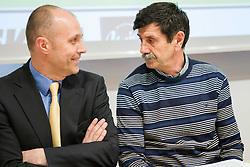 Slavko Kanalec of HK Acroni Jesenice  and Journalist Dusan Dragojevic  during Sportforum discussion about problems of ice-hockey at Jesenice, on April 23, 2013, in Gornjesavski muzej - Kolpern, Jesenice, Slovenia. (Photo By Vid Ponikvar / Sportida.com)
