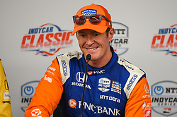 March 23, 2019 - Austin, TX, U.S. - AUSTIN, TX - MARCH 23: Scott Dixon (9) of Chip Ganassi Racing driving a Honda smiles as he speaks during a press conference following the IndyCar afternoon qualifications at Circuit of the Americas on March 23, 2019 in Austin, Texas. (Photo by Ken Murray/Icon Sportswire) (Credit Image: © Ken Murray/Icon SMI via ZUMA Press)