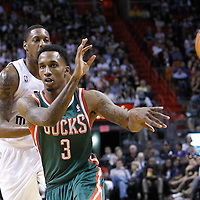 22 January 2012: Milwaukee Bucks point guard Brandon Jennings (3) makes a no look pass during the Milwaukee Bucks 91-82 victory over the Miami Heat at the AmericanAirlines Arena, Miami, Florida, USA.