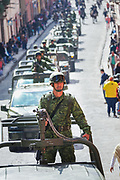 Members of the Mexican Army ride military vehicles in a parade to celebrate the 251st birthday of the Mexican Independence hero Ignacio Allende January 21, 2020 in San Miguel de Allende, Guanajuato, Mexico. Allende, from a wealthy family in San Miguel played a major role in the independency war against Spain in 1810 and later honored by his home city by adding his name.