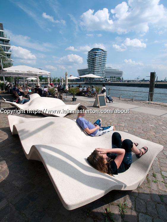 Modern promenade at Vasco Da Gamma Platz in new Hafencity property development in Hamburg Germany