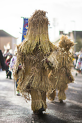 DATE CORRECTION. IMAGES SHOT 14/01/2017 © Licensed to London News Pictures. 14/01/2017. Whittlesey UK. Picture shows the Straw Bear being led through the town of Whittlesey at the 38th Straw Bear festival. In Whittlesey it was the custom on the Tuesday following Plough Monday to dress one of the confraternity of the plough in straw and call him a Straw Bear. The bear was then taken around town to entertain the folk who on the previous day had subscribed to the rustics, a spread of beer, tobacco & beef. The bear was made to dance in front of houses & gifts of money, beer & food was expected. Photo credit: Andrew McCaren/LNP