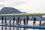 "Rio de Janeiro. BRAZIL.  GBR M8+, boating for training session.  2016 Olympic Rowing Regatta. Lagoa Stadium,<br /> Copacabana,  ""Olympic Summer Games""<br /> Rodrigo de Freitas Lagoon, Lagoa.   Tuesday  09/08/2016 <br /> <br /> [Mandatory Credit; Peter SPURRIER/Intersport Images]"
