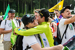 Primoz Roglic of Team Lotto NL Jumbo, Stage winner and winner in Overall classification with mother of his girlfriend Lora Klinc after the trophy ceremony after the 5th Time Trial Stage of 25th Tour de Slovenie 2018 cycling race between Trebnje and Novo mesto (25,5 km), on June 17, 2018 in  Slovenia. Photo by Vid Ponikvar / Sportida