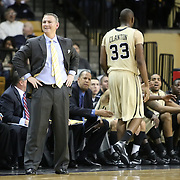 Central Florida head coach Donnie Jones is frustrated after Keith Clanton is called for a foul during the first half of a Conference USA NCAA basketball game between the Rice Owls and the Central Florida Knights at the UCF Arena on January 22, 2011 in Orlando, Florida. Rice won the game 57-50 and extended the Knights losing streak to 4 games.  (AP Photo/Alex Menendez)