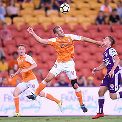 BRISBANE, AUSTRALIA - DECEMBER 21: Luke DeVere of the Roar heads the ball during the Round 12 Hyundai A-League match between Brisbane Roar and Perth Glory on December 21, 2017 in Brisbane, Australia. (Photo by Patrick Kearney / Brisbane Roar FC)