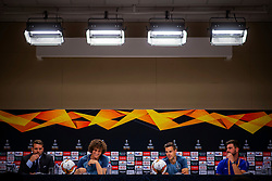 Handout photo provided by UEFA. Chelsea's David Luiz (centre left) and Cesar Azpilicueta (centre right) during a press conference at The Olympic Stadium, Baku.