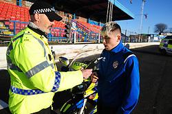 Fife Division, Roads Policing Festive launch, Central Park, Cowdenbeath, 29-11-2019<br /> <br /> Cowdenbeath player Connor Smith does a breath test from PC Seb Milne<br /> <br /> (c) David Wardle   Edinburgh Elite media