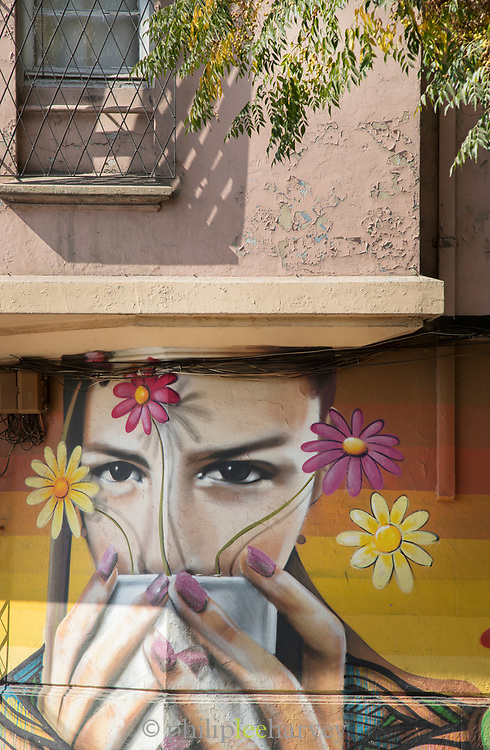 Graffiti - woman portrait with cup of tea - on wall on city street, Santiago, Chile