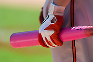 A close up view of the pink bat used by Matt Wieters #32 of the Baltimore Orioles on Mother's Day against the Minnesota Twins on May 12, 2013 at Target Field in Minneapolis, Minnesota.  The Orioles defeated the Twins 6 to 0.  Photo: Ben Krause
