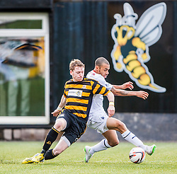 Alloa Athletic's Michael Doyle and Falkirk's Phil Roberts.<br /> Alloa Athletic 3 v 0 Falkirk, Scottish Championship game played today at Alloa Athletic's home ground, Recreation Park.<br /> © Michael Schofield.