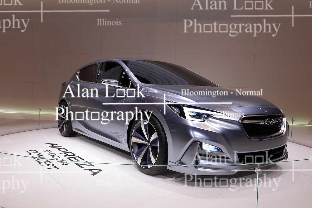 11 February 2016: Subaru Impreza.<br /> <br /> First staged in 1901, the Chicago Auto Show is the largest auto show in North America and has been held more times than any other auto exposition on the continent.  It has been  presented by the Chicago Automobile Trade Association (CATA) since 1935.  It is held at McCormick Place, Chicago Illinois<br /> #CAS16