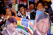 Followers Evo Morales and the MAS party proudly show their coca-leaes bag as asymbol of freedom