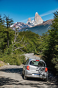 See the north face of Mount Fitz Roy (3405 m or 11,171 ft elevation) and Aguja Poincenot from Ruta 23 near Lago del Desierto, in Santa Cruz Province, Argentina, Patagonia, South America.