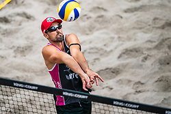 Adrian Gavira ESP in action during the last day of the beach volleyball event King of the Court at Jaarbeursplein on September 12, 2020 in Utrecht.