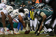PHILADELPHIA - NOVEMBER 18: The Philadelphia Eagles Defense lines up with the offense of the Miami Dolphins on November 18, 2007 at Lincoln Financial Field in Philadelphia, Pennsylvania.