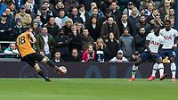 Football - 2019 / 2020 Premier League - Tottenham Hotspur vs. Wolverhampton Wanderers<br /> <br /> Diogo Jota (Wolverhampton Wanderers) strikes the volley towards the Tottenham goal at The Tottenham Hotspur Stadium.<br /> <br /> COLORSPORT/DANIEL BEARHAM