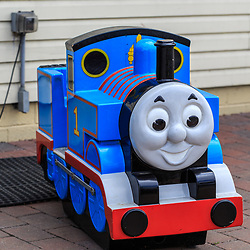 Strasburg, PA - July 19, 2016: Thomas the Train child's ride on the grounds at the Strasburg Rail Road.