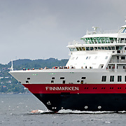 Three weeks aboard the Kong Harald. Hurtigruten, the Coastal Express. Bergen. The Finmarken in the harbour of Bergen.