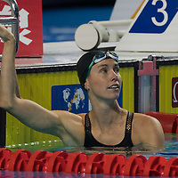 Emma McKeon of Australia reacts to winning in the Women's 100m Freestyle final of the FINA Swimming World Cup held in Budapest, Hungary on Oct. 9, 2021. ATTILA VOLGYI