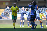 Goal Norwich City forward Teemu Pukki (22) scores a goal and celebrates  0-1 during the EFL Sky Bet Championship match between Wycombe Wanderers and Norwich City at Adams Park, High Wycombe, England on 28 February 2021.