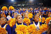 San Jose State Spartans cheerleaders and players celebrate after the season opener 24-0 win over the Sacramento State Hornets at San Jose State University's Spartan Stadium in San Jose, California, on August 29, 2013. (Stan Olszewski/ZUMA Press)