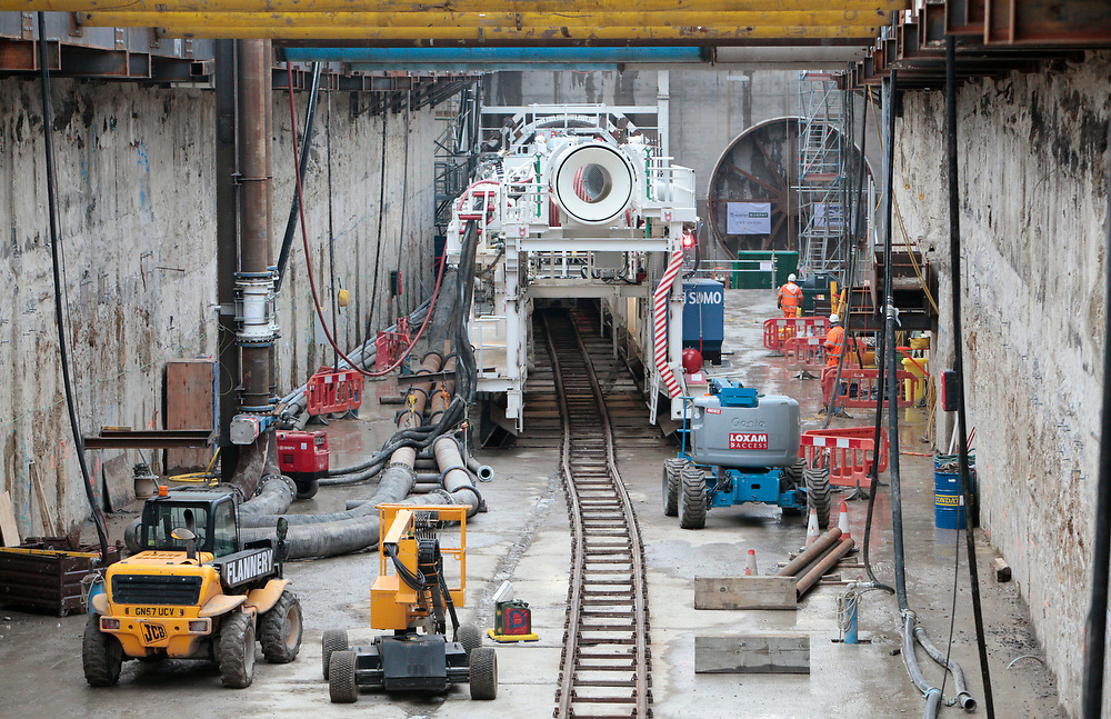 Tunnel boring machines on London's Crossrail project before they dig beneath the river Thames. Photographed at the Plumstead site for Bechtel Engineering's 2013 annual report.