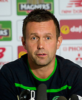 23/10/15<br /> LENNOXTOWN<br /> Celtic manager Ronny Deila speaks to the press ahead of facing Dundee Utd.
