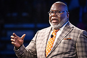"""Master communicator, multidimensional businessman and international thought leader T.D. Jakes speaks on the topic, """"Living Your Best Life,"""" at North Carolina Agricultural and Technical State University's spring Chancellor's Speaker Series on Thursday, April 11, 2019.<br /><br />(Chris English/Tigermoth Creative)"""