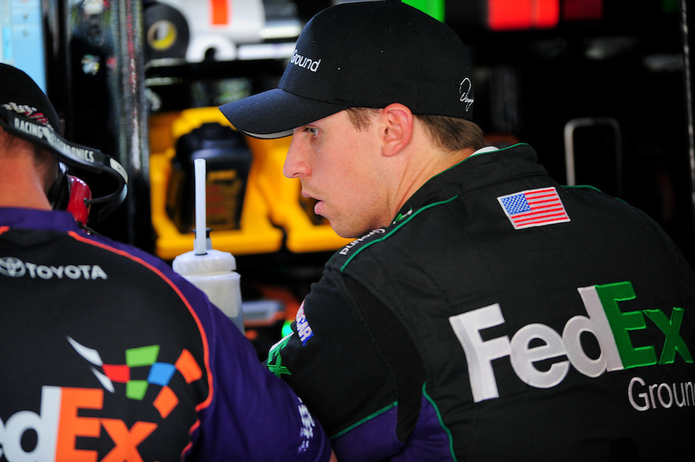 May 24, 2012; Concord, NC USA; NASCAR Sprint Cup Series driver Denny Hamlin (11) during  for the Coca-Cola 600 at Charlotte Motor Speedway. Photo by Kevin Liles/kevindliles.com