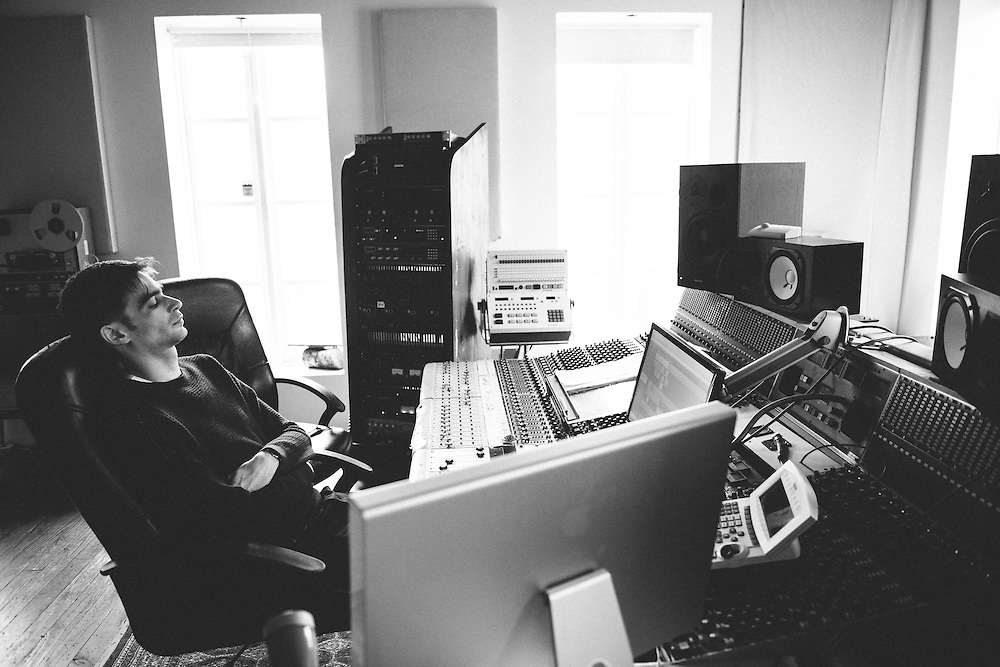 Photos of musician Jon Hopkins recording session at Sundlaugin studios in Álafoss, Iceland. February 13, 2014. Copyright © 2014 Matthew Eisman. All Rights Reserved