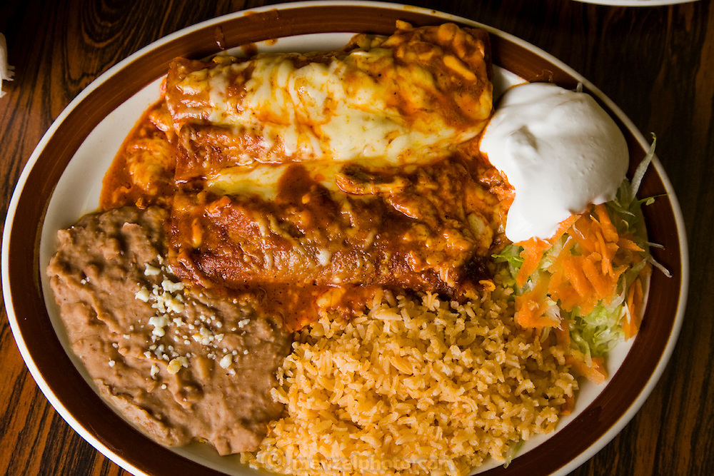 An enchilada lunch plate special at  Los Dos Loredos, a Mexican restaurant owned by the Alvarez family in Chicago Illinois. (Lourdes Alvarez is featured in the book What I Eat;  Around the World in 80 Diets.)
