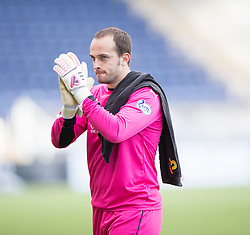 Falkirk's keeper Jamie MacDonald at the end of the game.<br /> Falkirk 2 v 1 Alloa Athletic, Scottish Championship game played 4/10/2014 at The Falkirk Stadium.
