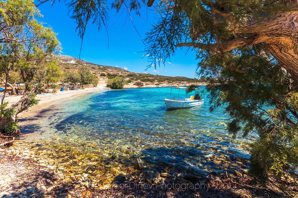 Sarakiniko, Paros, Greece - July 2021: Agia Irini Beach