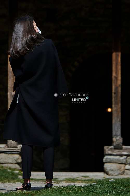 Queen Letizia of Spain attend Cultural visit to the 'Espai Columba' and Museum with the installation of rehabilitated pre-Romanesque frescoes during 2 day State visit to Principality of Andorra at Church of Santa Coloma d'Andorra on March 26, 2021 in Andorra la Vella, Principality of Andorra