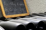 Bottles aging in the cellar. Pouilly Fume Grande Cuvee 2004. Domaine Pascal Jolivet, Sancerre, Loire, France