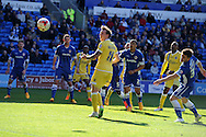 Martyn Woolford of Millwall © watches as his header goes wide. Skybet football league championship, Cardiff city v Millwall at the Cardiff city stadium in Cardiff, South Wales on Saturday 18th April 2015<br /> pic by Andrew Orchard, Andrew Orchard sports photography.