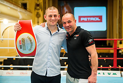 Best boxer Denis Lazar of Slovenia and Dejan Zavec celebrate after the Dejan Zavec Boxing Gala event in Ljubljana, on March 11, 2017 in Grand Hotel Union, Ljubljana, Slovenia. Photo by Vid Ponikvar / Sportida