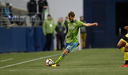 March 1, 2018 - Seattle, Washington, U.S - Soccer 2018: Seattle Sounder midfielder MAGNUS WOLFF EIKREM (22) in action as Santa Tecla FC visits the Seattle Sounders for a CONCACAF match at Century Link Field in Seattle, WA. Seattle won the match 4-0. (Credit Image: © Jeff Halstead via ZUMA Wire)
