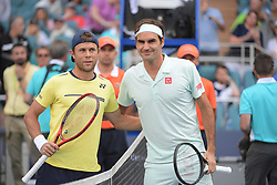 March 23, 2019 - Miami Gardens, Florida, United States Of America - MIAMI GARDENS, FLORIDA - MARCH 23:  Radu Albot, Roger Federer on Day 6 of the Miami Open Presented by Itau at Hard Rock Stadium on March 23, 2019 in Miami Gardens, Florida..People: Radu Albot, Roger Federer. (Credit Image: © SMG via ZUMA Wire)