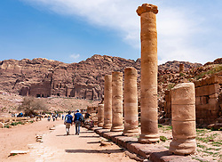 Collonaded Street in Petra, Jordan. UNESCO World Heritage Site