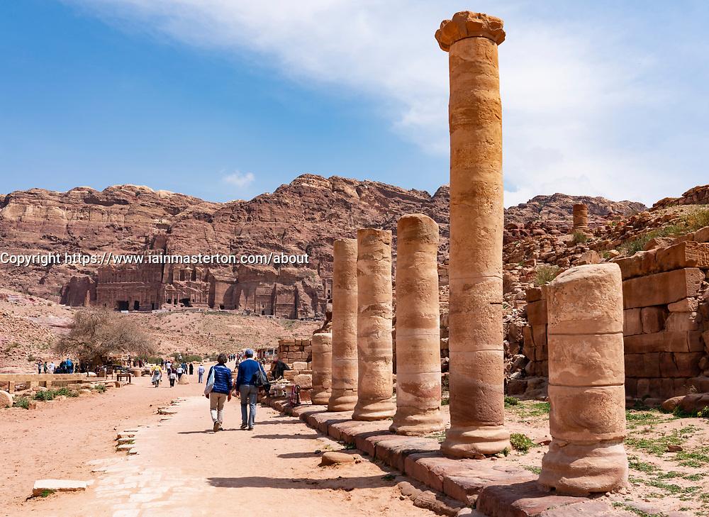 Collonaded Street in Petra, Jordan. UNESCO World Heritage Site