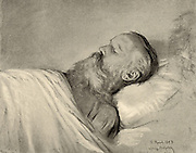 Johannes Brahms (1833-1897), German composer, on his deathbed. After pastel by Ludwig Michalek. Halftone.