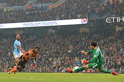 24th October 2017 - Carabao Cup (4th Round) - Manchester City v Wolverhampton Wanderers - Man City goalkeeper Claudio Bravo saves from Bright Enobakhare of Wolves - Photo: Simon Stacpoole / Offside.