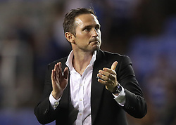 Derby County manager Frank Lampard celebrates his side's victory after the Sky Bet Championship match at the Madejski Stadium, Reading.