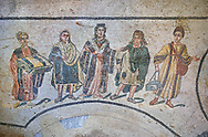 Close up picture of the Roman mosaics of the Trapedoizal Vestibule room, the so called Domina of the Villa, probably Eutropia the wife of Emperor Maximinianus, accompanied by her children, room no 16 at the Villa Romana del Casale, first quarter of the 4th century AD. Sicily, Italy. A UNESCO World Heritage Site.<br /> <br /> The Trapedoizal Vestibule was probably a private entrance to the Villa Romana del Casale. The Roman mosaics of the Trapedoizal Vestibule depicts the Domina (mistress) of the house, wife of Emperor Maximianus, Eutropia at  its centre. To her right if Maxentius and to her left is Fausta .<br /> <br /> If you prefer to buy from our ALAMY PHOTO LIBRARY  Collection visit : https://www.alamy.com/portfolio/paul-williams-funkystock/villaromanadelcasale.html<br /> Visit our ROMAN MOSAIC PHOTO COLLECTIONS for more photos to buy as buy as wall art prints https://funkystock.photoshelter.com/gallery/Roman-Mosaics-Roman-Mosaic-Pictures-Photos-and-Images-Fotos/G00008dLtP71H_yc/C0000q_tZnliJD08