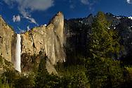 Sheer granite cliff face of Leaning Tower and Bridalveil Fall above Yosemite Valley, Yosemite National Park, California