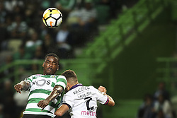 October 22, 2017 - Lisbon, Portugal - Sporting's midfielder William Carvalho (L) vies with Chaves's defender Paulinho during the Portuguese League  football match between Sporting CP and Chaves at Jose Alvalade  Stadium in Lisbon on October 22, 2017. (Credit Image: © Carlos Costa/NurPhoto via ZUMA Press)